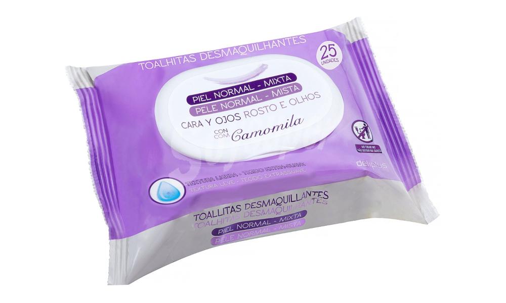 Toallitas Faciales Desmaquilladoras para pieles normales y mixtas Deliplus (paquete morado)